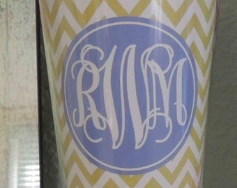 Personalized monogramed acrylic cup with straw