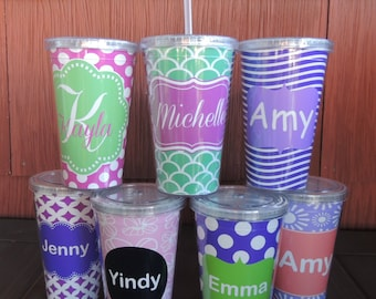 Personalized Monogrammed Acrylic Cup w Straw