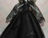 Handmade Monster and Fairy Tale doll clothes - black bat gown and cape