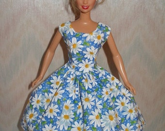 Handmade Barbie doll clothes - daisy print dress - More colors/choose 1