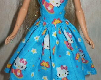 "Homemade 11.5"" fashion doll clothes - blue, pink and white kitty dress"