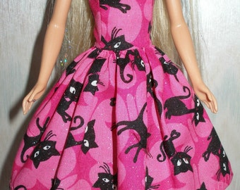 "Handmade 11.5"" fashion doll clothes - Regular, Tall, Curvy or Petite - Pink and black cat dress"