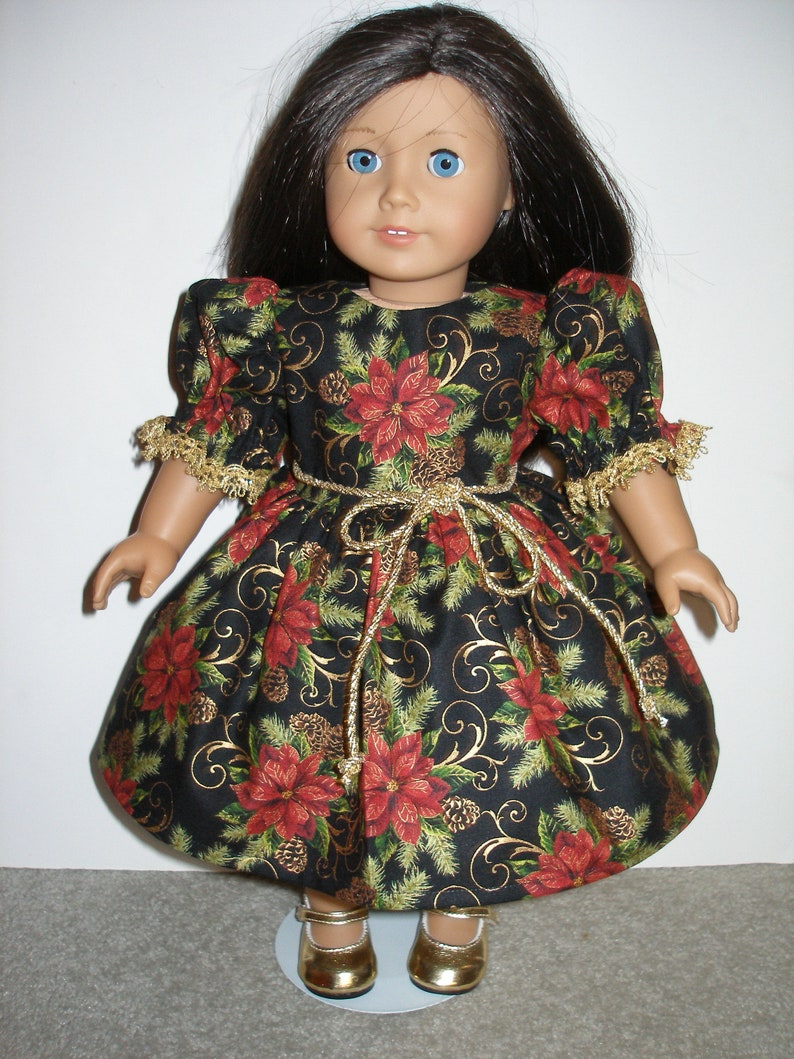 0793adfee7c1 Dress for 18 inch dolls black gold and red poinsettia | Etsy