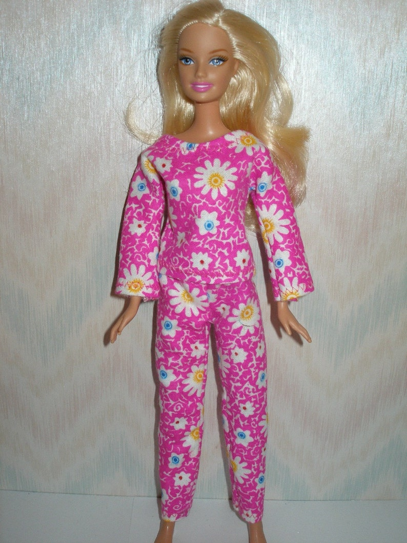 Handmade Barbie doll clothes  pink flannel pajamas image 0