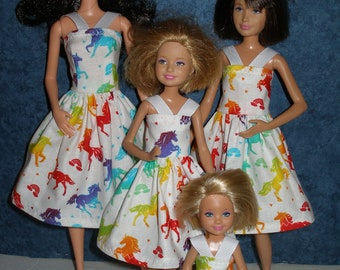 Handmade for Barbie clothes -- Sister set of 4 or indivicual sizes - White w/ rainbow color unicorns dresses
