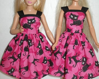 """Handmade 11.5"""" fashion doll clothes - Regular, Tall, Curvy or Petite - Pink and black cat dress"""