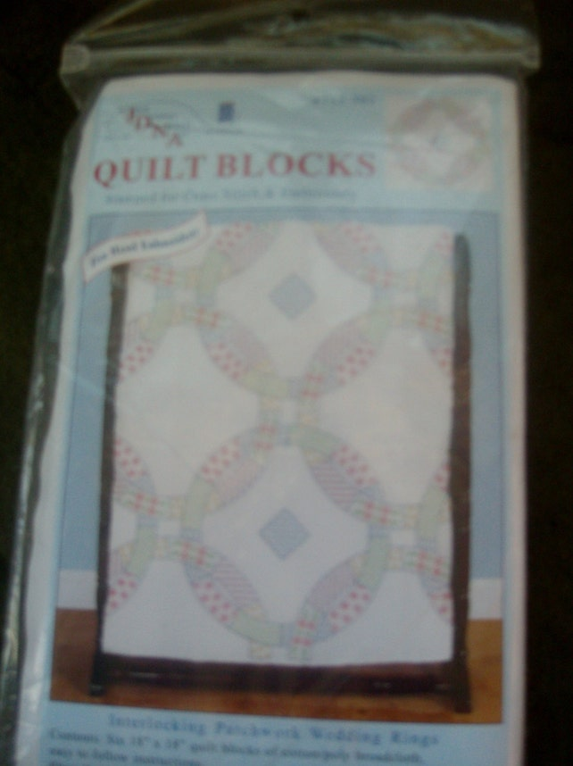 Wedding Ring Quilt Blocks Embroidery Jdna Stamped Cross Stitch Etsy
