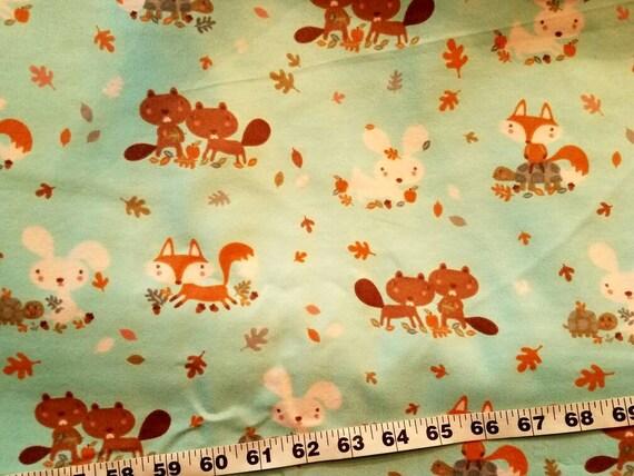 Flannel Quilt Fabric Beaver Fox Squirrel Bunny Rabbit Cotton Etsy