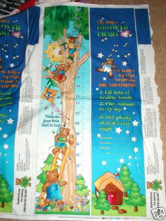 Kids Growth Chart Fabric Panel Sewing Material Crafting Etsy