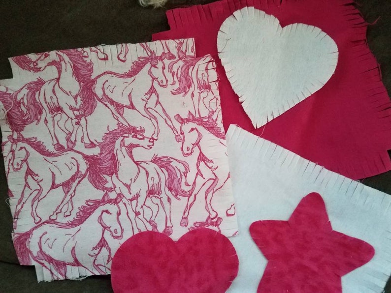 Flannel horse fabric rag quilt kit fringed die cut fabric squares batting  ready to sew baby shower gift new mom, flannel baby quilt DIY