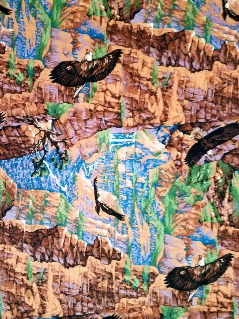 Eagle fabric scenic wildlife canyon cotton print quilter sewing material to sew craft by the yard BTY wildlife fabric with eagles