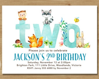 Woodland Second Birthday Invitation | Boy Birthday Invite | 2nd Birthday Woodland Party | Boy 2nd Birthday | Printable DIY | 1515blue