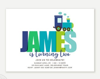 Train Birthday Invitation, Boy Birthday Invitation, Train Custom Name Invitation, Choo Choo Train, Printable, 1061