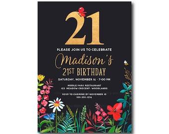 21st Birthday Invitation Floral 21st Birthday Invite 21st Etsy