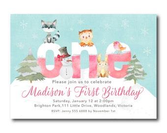 Winter Woodland First Birthday Invitation