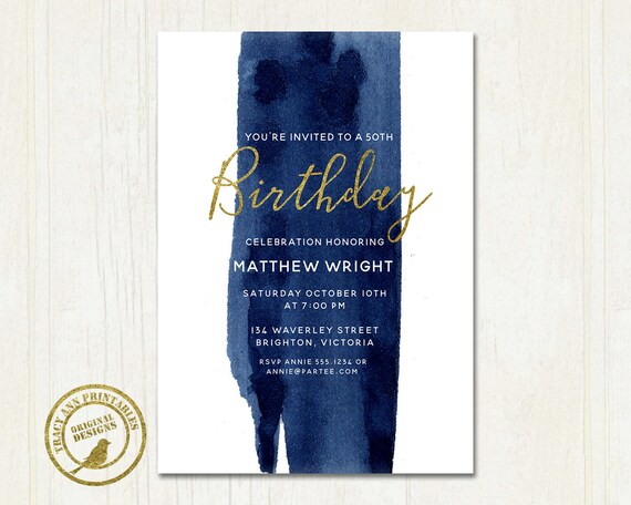 50th Birthday Invitation Male Invite 21st 30th