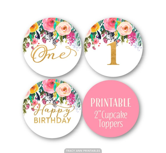 First Birthday Cupcake Toppers 1st Decor Glitter