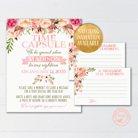 Pink Time Capsule Watercolor First Birthday Party Decor