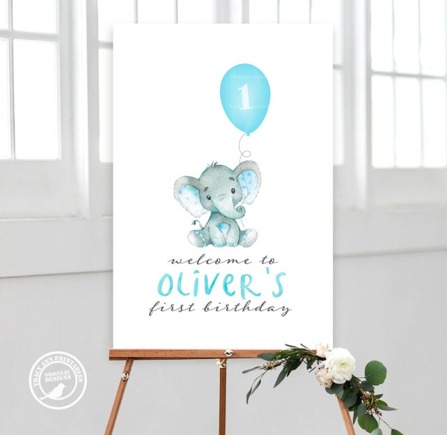 Elephant Birthday Welcome Sign And Balloon Boy Decor Blue Party 1st 2nd
