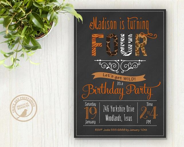 Birthday Invitation Safari Animal Party Zoo Wild Tweens Printable Digital 1509