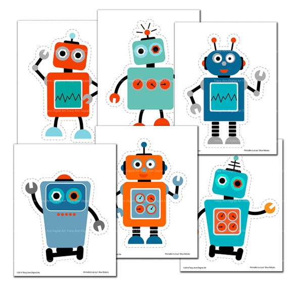 picture relating to Robot Printable titled Blue and Orange Robotic Printable Lower outs - Do it yourself Bash Decor