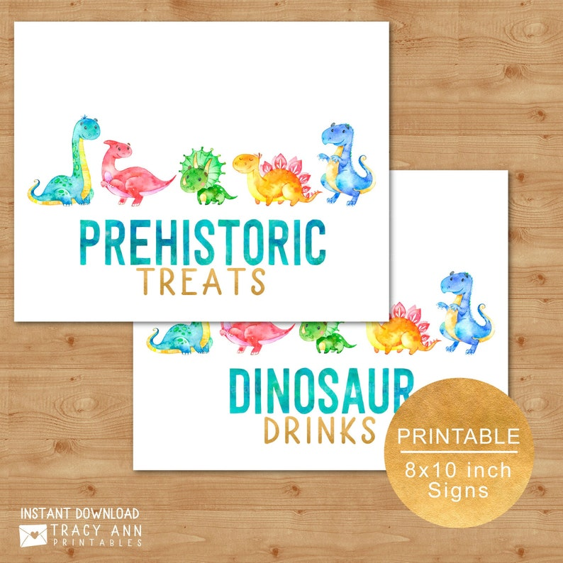 image regarding No Food or Drink Signs Printable called Foods and Consume Signs or symptoms, Printable Dinosaur Birthday Get together Symptoms, Dinosaur Beverages Prehistoric Snacks 8\