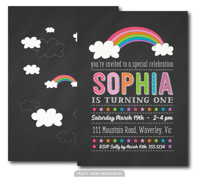 1st Birthday Rainbow Chalkboard Invitation Printable DIY 2nd 1031
