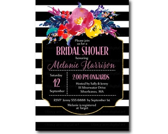 Bright Floral Bridal Shower Invitation  | Vibrant Bridal Shower invite |  Printable Bridal Shower | Printable | Invitation 2132