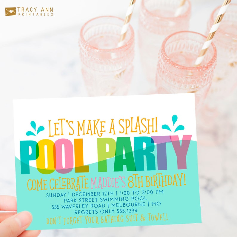 Pool Party Birthday Invitation Printable Invite Summer Swim Splash Digital 1510