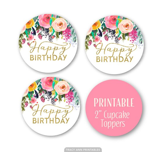 Happy Birthday Cupcake Circles Stickers Glitter