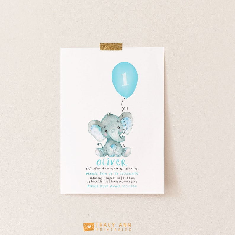 Elephant Birthday Invitation Baby And Balloon