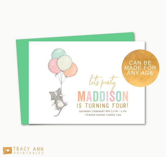 Balloon Cat Birthday Invitation Kitty Party