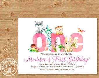 Woodland 1st Birthday Invitation | Girl Birthday Invite | 1st Birthday Woodland Party |  1st Birthday Digital | Printable DIY | 1515pink