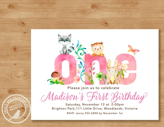 Woodland 1st Birthday Invitation Girl Invite