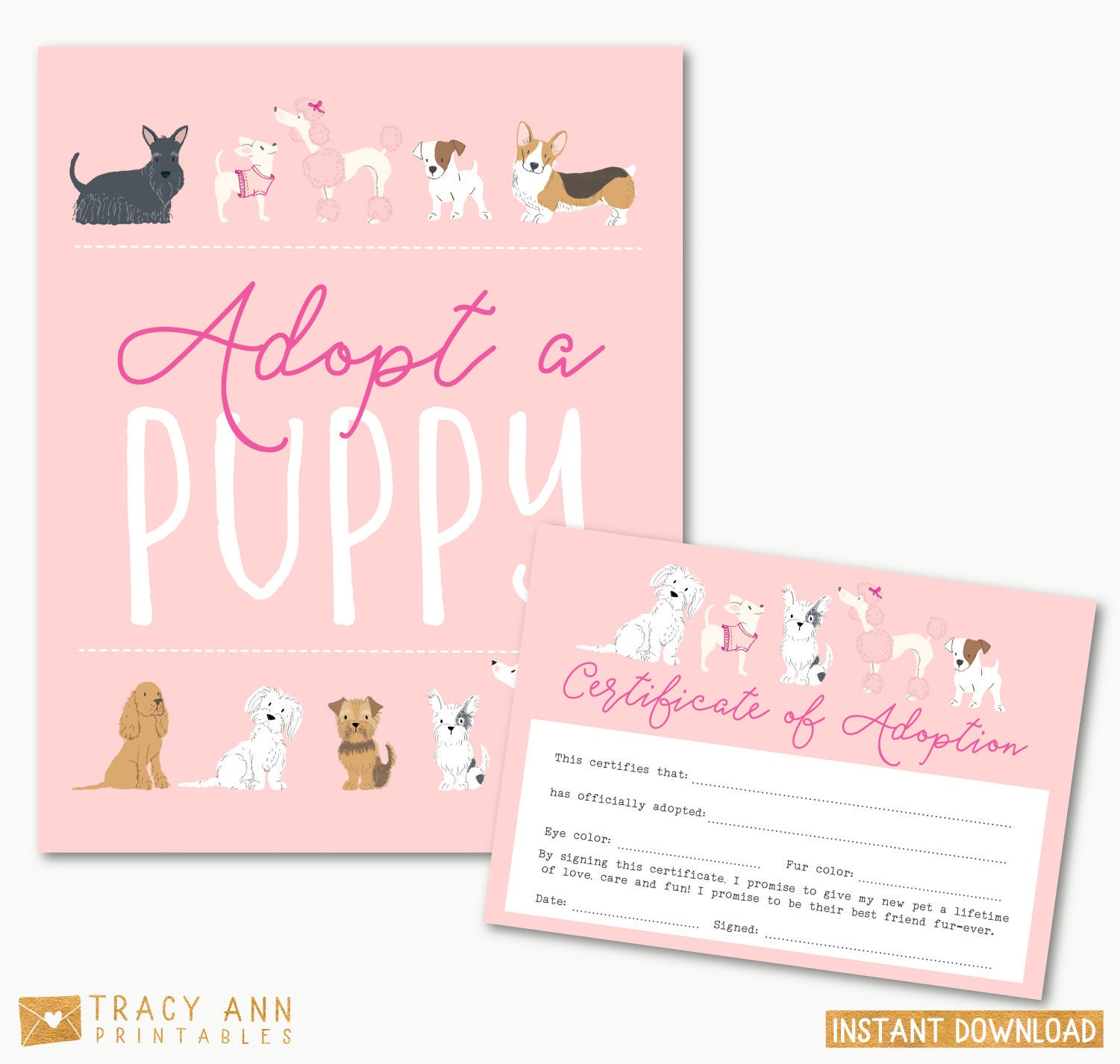 Puppy Adoption Certificate Adopt A Puppy Birthday Party Dog Etsy
