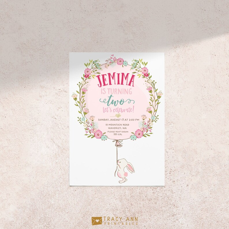 Bunny Birthday Invitation White Floral Rabbit And Pink