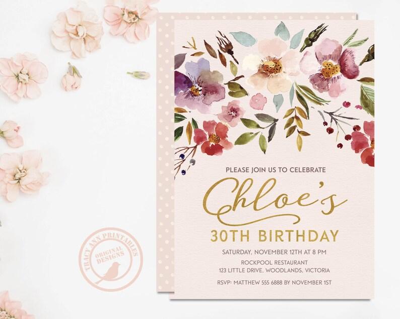 30th Birthday Invitation Vintage Floral