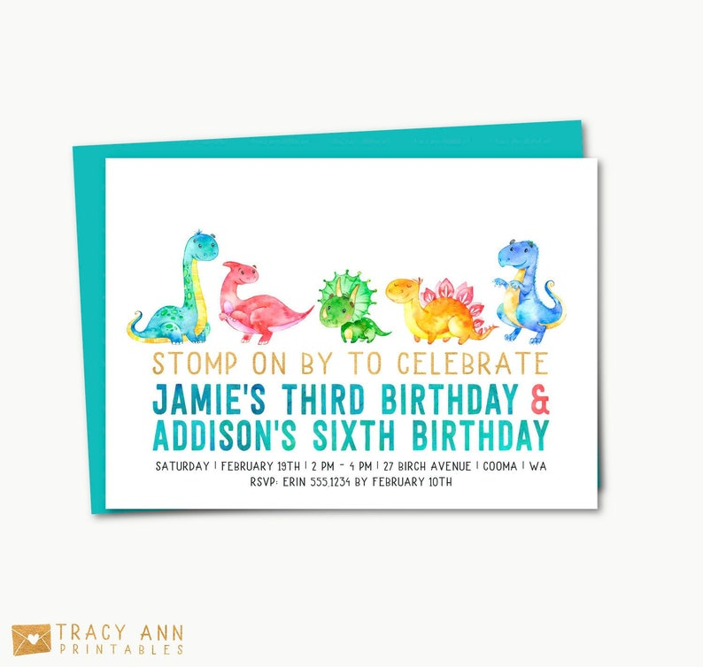 Dinosaur Joint Birthday Invitation Twin Dino Party