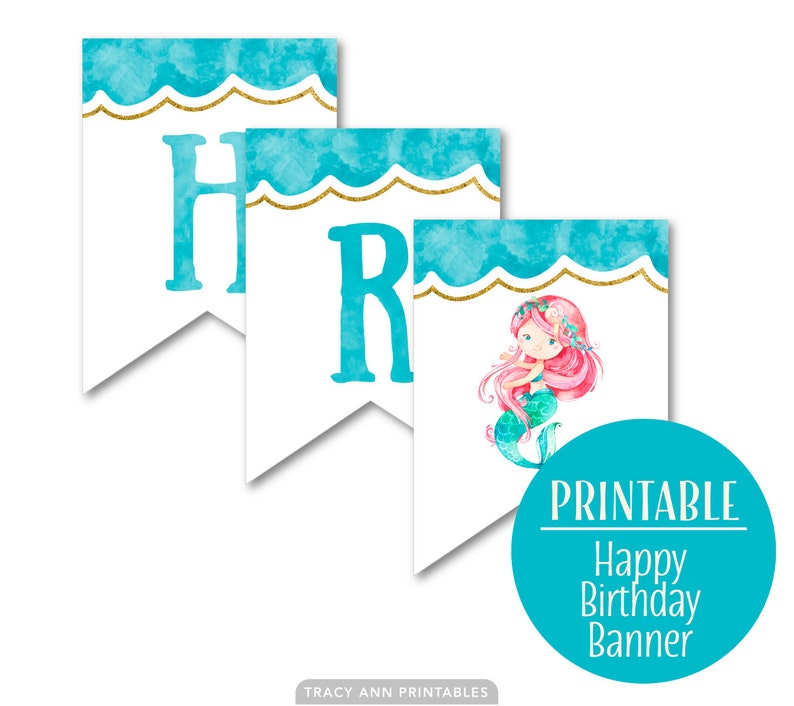 1st 5th Birthday Banner Birthday Bunting 4th 3rd Swim Party Mermaid Happy Birthday Banner Birthday decor DIY Banner 2nd 1073