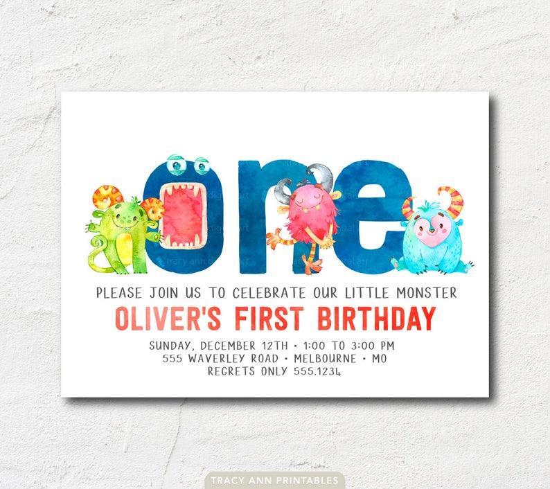 1st Birthday Monster Invitation 2nd 3rd