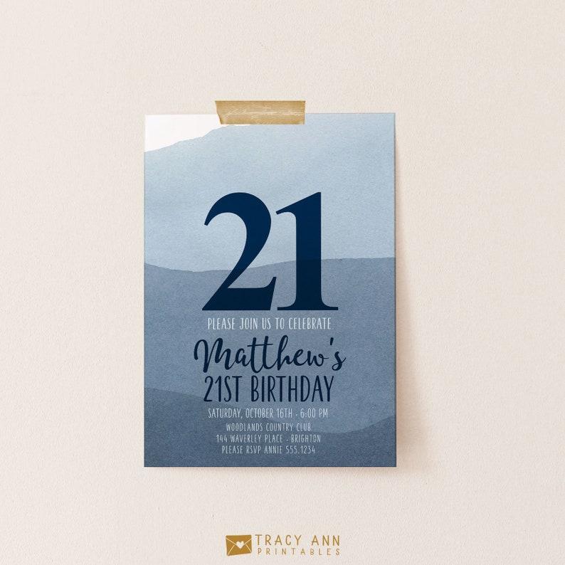 21st Birthday Invitation Watercolor Navy Blue Male