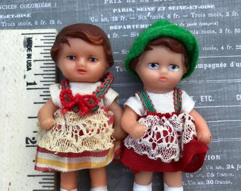 Two Vintage Tiny German ARI Rubber Baby Dolls - 1960's - Rubber Baby Buggy Bumpers