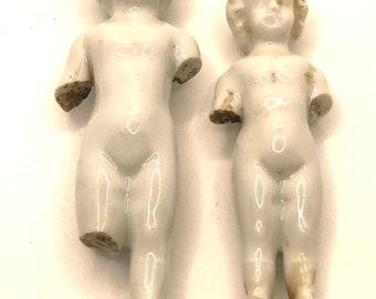 German Bisque Frozen Charlotte Dolls, Antique, Ceramic, Set of 2 (B)