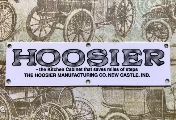 Hoosier Name plate Cabinet Label, Tag, Plaque