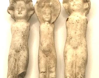 Group of 3 German Frozen Charlotte Bonnet Dolls - Lot (B)