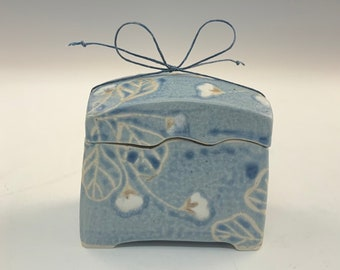 Handmade Blue Japanese Wishbox With Vines and Flowers