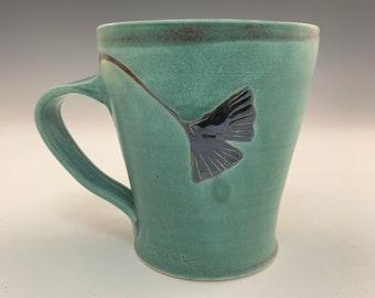 Blue-Green Matte Glazed Mug With 2  Gingko Leaves