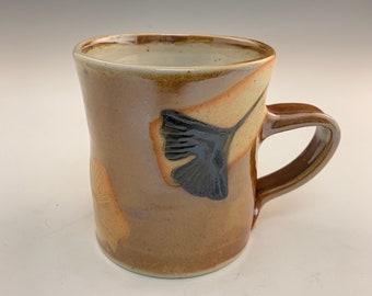 Handmade  Shino Glazed Mug With 3 Ginkgo Leaves