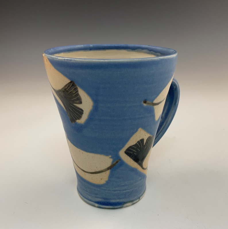 Handmade Blue Cup With Six Gingko Leaves