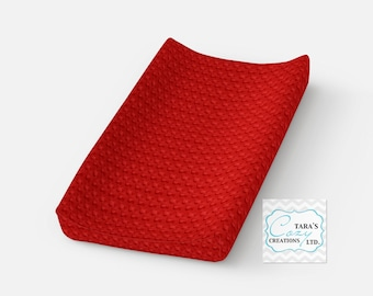 RED Minky Change Pad Cover- Red Change Pad Cover- Minky Changing Pad Cover- Diaper Cover- Minky Changing Cover-